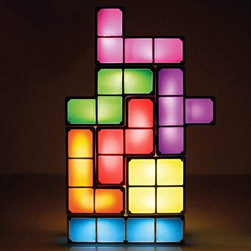 Stackable Night Light,Puzzle Lamp,7 Colors Induction Interlocking Blocks,DIY Tangram Desk Toy Light,Led Cube,Great...