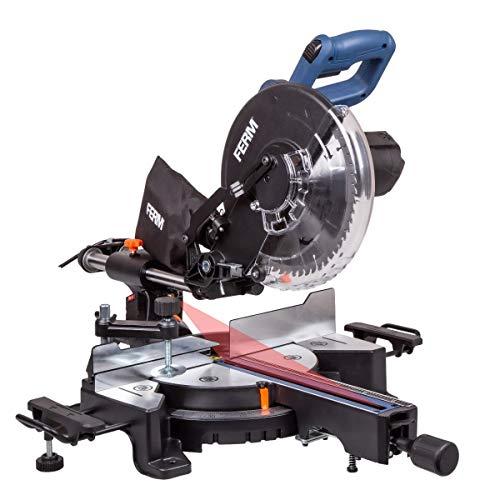 FERM Scie à onglet radiale FERM 1900W - Ø254mm - Guide laser, lame de scie 60 dents, rallonges de table, pince de travail et sac de récupération de poussière inclus