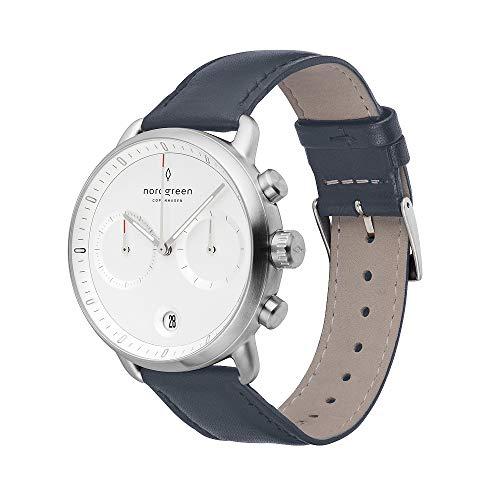 Nordgreen Pioneer skandinavische Herrenuhr in Silber mit Weißem Ziffernblatt und austauschbarem 42mm Leder Armband Navy Blau 14047