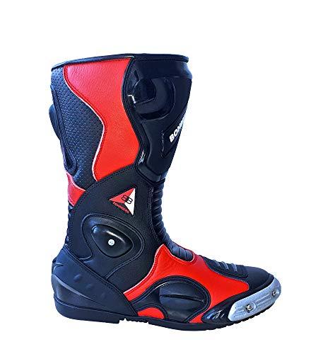 Bohmberg - Botas de Moto, Botas de Piel Deportivas, Impermeables, de Cuero Estable Protectores rígidos Integrados (Rojo, 44)