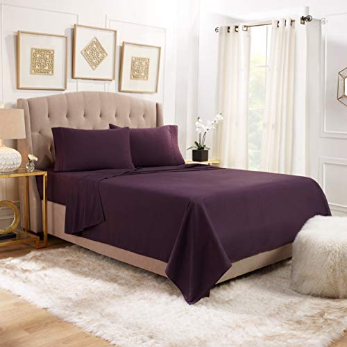 Empyrean Bedding 14 - 16 Deep Pocket Fitted Sheet 4 Piece Set - Hotel Luxury Soft Double Brushed Microfiber Top Sheet - Wrinkle Free Fitted Bed Sheet, Flat Sheet and 2 Pillow Cases - King, Purple