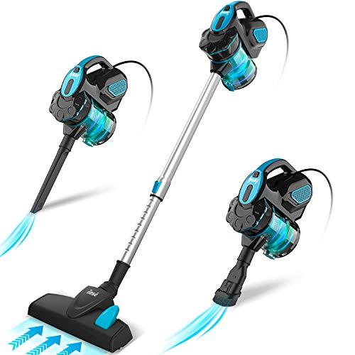 INSE Aspirador con Cable, 3 En 1 Vertical y de Mano, Hogar Escopa Aspiradora, Poderosa Succión 18Kpa, 600W, 1L, Hepa Filtro Lavable, 3 Cepillos...