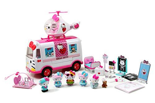 Dickie Hello Kitty 253246001 - Gioco di emergenza 'Ambulanza' + 1 elico + 6 personaggi + molti accessori medici
