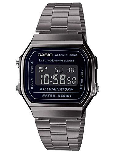 Casio Herren Digital Japanischer Quarz Uhr mit Edelstahl Armband A168WEGG-1BEF
