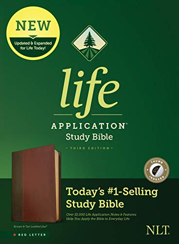 NLT Life Application Study Bible, Third Edition (Red Letter, LeatherLike, Brown/Mahogany, Indexed) Tyndale NLT Bible with Thumb Index, Updated Study Notes/Features, Full Text New Living Translation