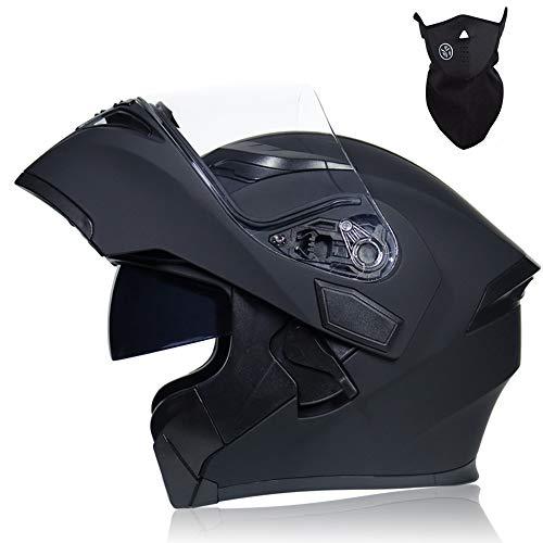 MRDEER® Casque de Moto avec Masque, Double Visière, Doublure Amovible, Casque Modulables Intégral Casques Moto Homme Femme Adulte pour Scooter Chopper, Noir Mat,XXL