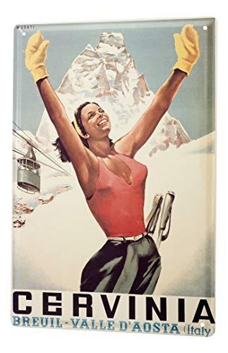 LEotiE SINCE 2004 Targhe Cartello Targa in Metallo Decorazione della Parete Giramondo Breuil Valle D' Aosta Itallien cabinovia Donna
