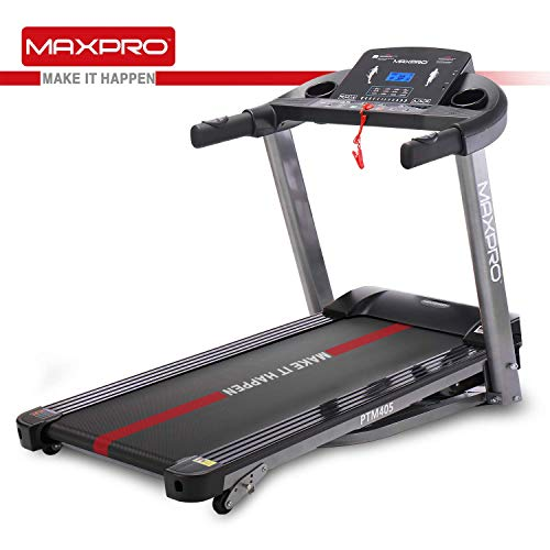 MAXPRO PTM405 2HP(4 HP Peak) Folding Treadmill, Electric Motorized Power Fitness Running Machine with LCD Display and Mobile Phone Holder Perfect for Home Use