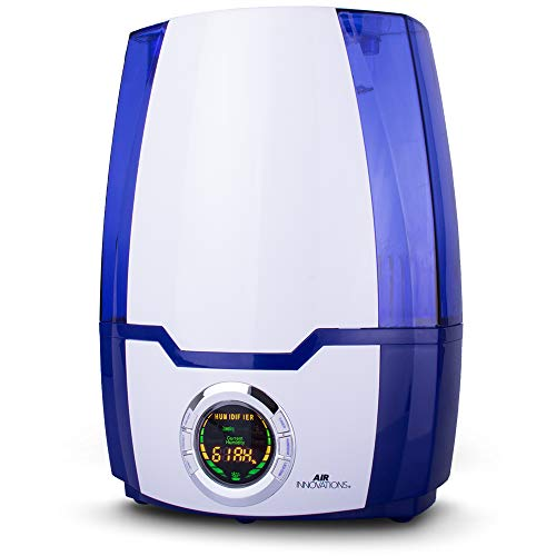 Air Innovations Ultrasonic Cool Mist Digital Smart Humidifier 1.37 Gallon Ultrasonic Humidifier For Bedroom & Extra Large Rooms Silent Operation Aromatherapy Tray Auto Shut-off & Timer Model MH-505A (Blue)