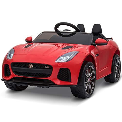 HOMCOM Jaguar Elektroauto Kinderfahrzeug mit Fernbedienung Kinderauto Musikfunktion 3-6 Jahre PP Rot 110 x 65 x 48 cm