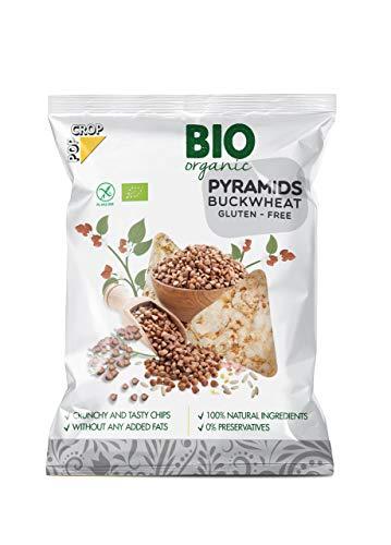 POPCROP Pyramids Bio Buchweizen, 8 x 25 g, Getreide-Chips | High Carb, glutenfrei, vegan, fettarm | Ohne Öl hergestellt | Ohne künstliche Zusatzstoffe