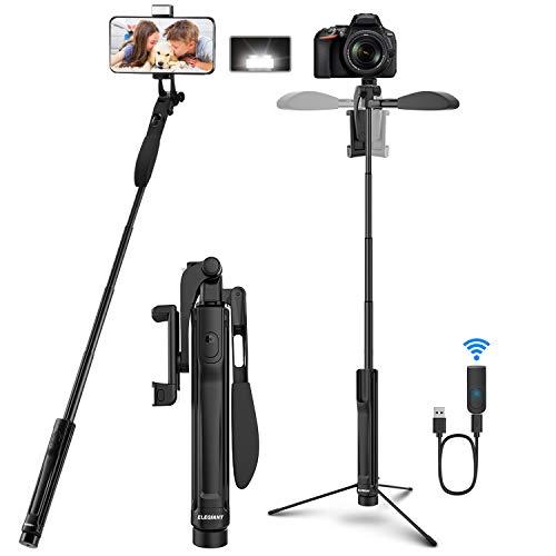 ELEGIANT Perche Selfie, Selfie Stick 4-en-1 avec Trépied Pliable...