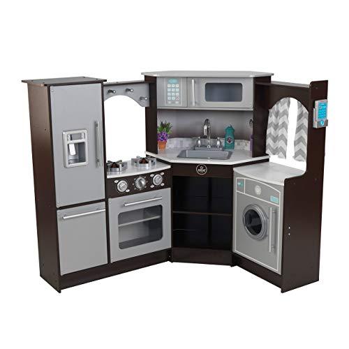 KidKraft Ultimate Corner Play Kitchen with Lights & Sounds, Espresso (53365)