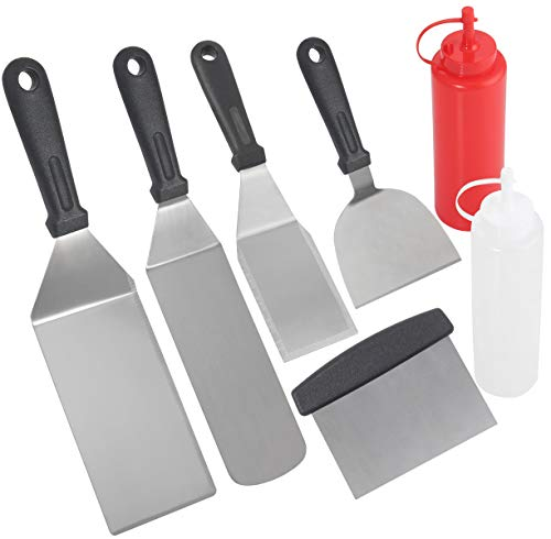 POLIGO Professional Spatula Set in Packing Box - 7pcs Commercial Grade Stainless Steel Griddle Accessories Set for Flat Top Cooking Teppanyaki Grill - Metal Tool Set Gifts for Christmas Birthday Men