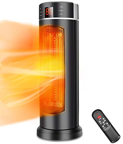 Space Heater - TRUSTECH Tower Heater 1500W 70 Oscillation with Remote Control, Overheating & Tip-Over Protection, Adjustable Thermostat, 12H Timer Portable Ceramic Space heater for Office, Indoor Use