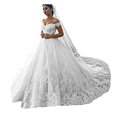 We can Custom the Other Styles for you. Style A :with Free 3 Hoops Petticoat. Style B :with Free Wedding Veil. Women's Off Shoulder Lace Wedding Dresses for Bride 2020 Wedding Gowns Court Train Bridal Gowns Custom made service acceptable, measurement...