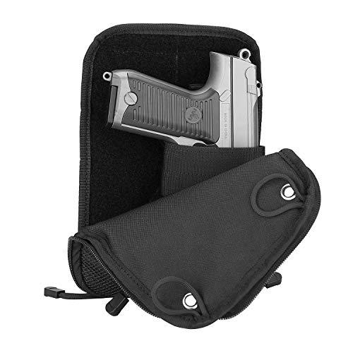 ProCase Pistolentasche, Taktische Weiche Pistolentasche Schießpistole Range Tasche Pistolenmagazintasche Reisetasche für Jagd- oder Schießstand-Sport -Schwarz