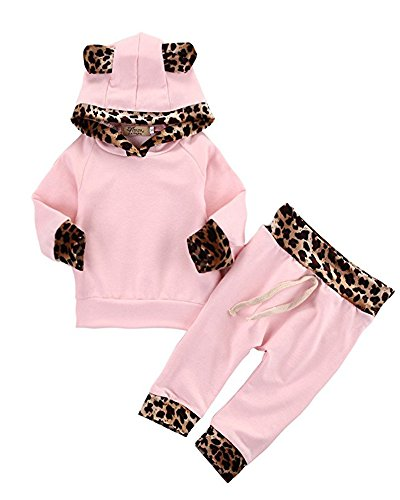 2Pcs Cute Newborn Baby Girls Pink Leopard Hoodie T-Shirt Top + Pants Outfits Set (3-6Months, Pink&Leopard)