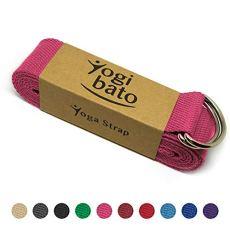 Yogibato Yogagurt 100% Baumwolle  240 x 3,8 cm   Band zur besseren Dehnung – Cotton Strap – Yogaband mit Verschluss aus Metall – Yoga Gurt Fuchsia