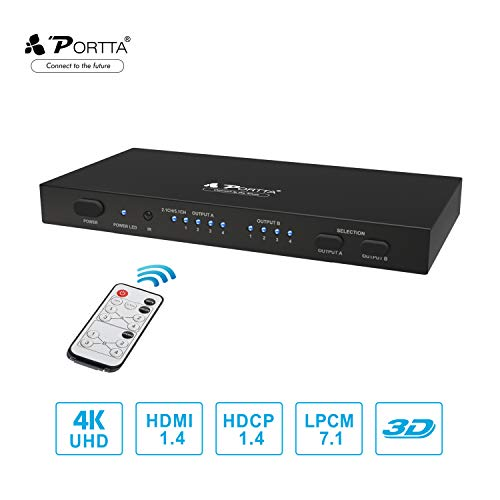 Portta HDMI 4x2 Matrix Switch Splitter 4K SPDIF/Toslink/Koaxial und Stereo 3,5 mm Audio Extractor Unterstützung 4Kx2K@30Hz UHD 3D Fernbedienung für PS4 Notebook HDTV - 4 IN 2 OUT Umschalter Verteiler
