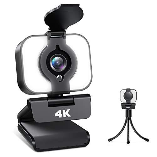 Webcam 4K, Webcam PC con Micrófono y Luz, Cámara Web con...