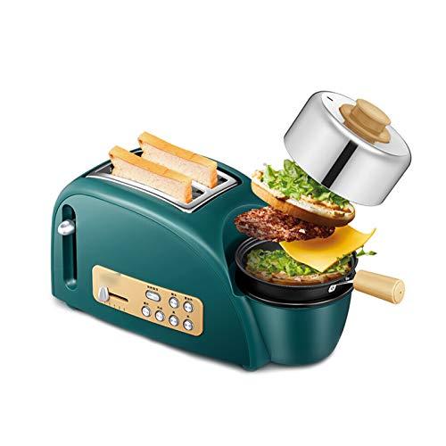 OMKMNOE Toaster,Scheiben Toaster Und Eierkocher 5 in1 Toast Und Ei Frühstück Maschine Toaster Edelstahl Grill Bratpfanne Dämpfende Schüssel Ei Rack,Grün
