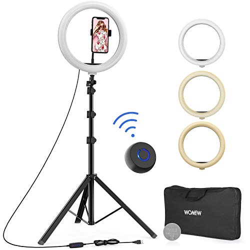 WONEW 12' Selfie Ring Light with Tripod Stand, Flexible Phone Holder, Bluetooth Remote Control and Carry Bag for Live Stream/Makeup/YouTube Video/Photography, Compatible with iPhone Xs Max XR Android