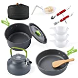 Eat-Camp Camp Cookware Set with Kettle 12 PCS Aluminum Lightweight Camping Cookware Mess Kit Pots Pan Free Folding Spork Knife Spoon for Outdoor Camping Backpacking Hiking Picnic