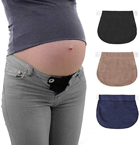 Estensione per cintura in gravidanza, con bottoni elasticizzati, per donne, 3 pezzi (nero, blu navy...