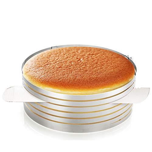 Regolabile Torta Inossidabile Anello Taglierina, Anello per Affettare Le Torte, Affettatrice per Torta Regolabile a 6 Strati, Ideale per preparare Torte, Pane