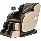 Real Relax 2021 Updated Massage Chair, Full Body Zero Gravity Shiatsu Robots Hands S Track Massage Recliner with Bodyscan Bluetooth Heat, Favor-05 Khaki and Brown
