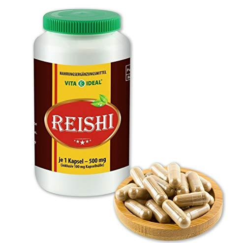 VITAIDEAL® Reishi Pilz Extrakt (Ling-Zhi) 90 Kapseln je 500mg, aus rein natürlichen Pilz Extrakten, ohne Zusatzstoffe von NEZ-Diskounter