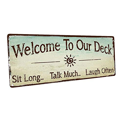 HBA Sun Protected Welcome to Our Deck Metal Sign, Outdoor Living,...