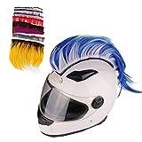 Namecute Helmet Mohawk Wigs Motorcycle Helmets Hawks Synthetic Wig Costume Hair Stick for Bicycle Ski Sports Helmet Accessories (Helmet Not Included) (Blue/White)