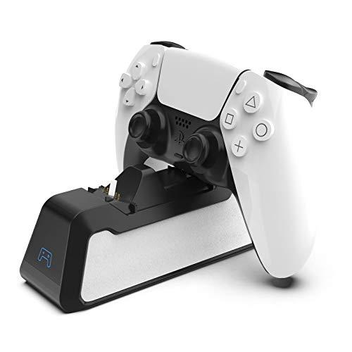 Ladestation Kompatibel mit PS5 Controller, DualSense Ladestation für PlayStation5 Controller, PS5 Ladegerät Ständer Schnelles Laden für 2 Controller PS5 Zubehör mit USB Kabel (Schwarz)