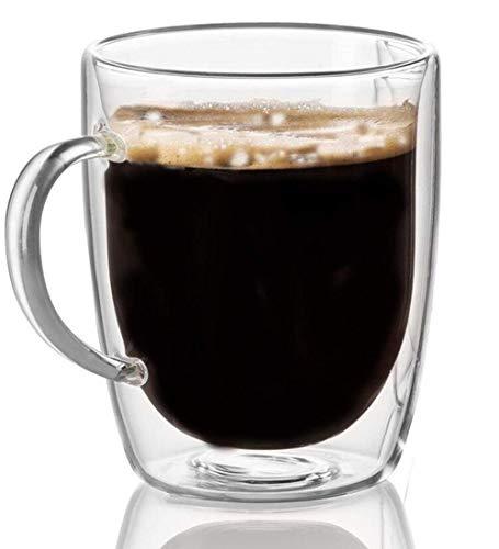 Cooko Tazzine da Caffè,Bicchieri da Caffè a Doppia Parete,Vetro Resistenti al Calore,Tazze ad Borosilatura per Tè,Latte,Cappuccino,350ml set di 1