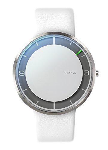 Botta-Design NOVA+ Quarz Armbanduhr - Einzeigeruhr, Edelstahl, Lederband (44 mm, Weiß)