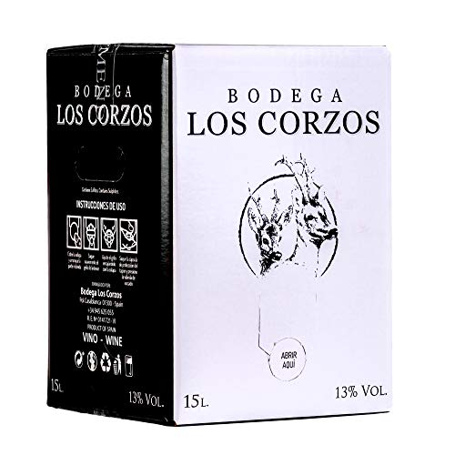 Bag in Box 15L Vino Tinto Recomendado (Equivalente a 20 Botellas de 750 ml) caja de vino tinto con grifo mucha calidad uvas seleccionadas vinos tintos Bodega Los Corzos