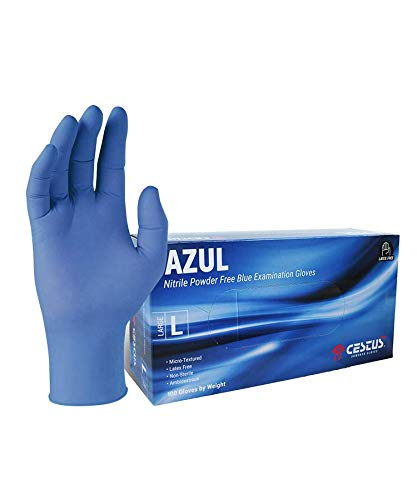 Cestus Blue Nitrile Disposable Gloves Powder Free Textured Fingertips Latex Free Medical Examination Glove (Small)