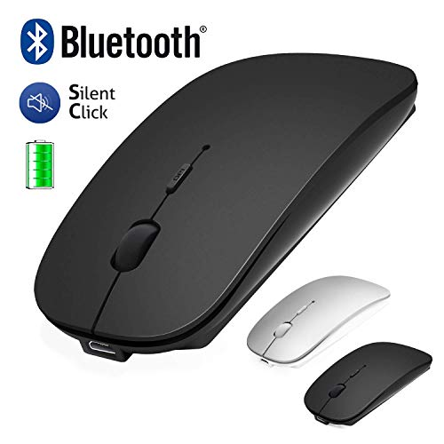 Bluetooth Maus für Macbook / iPad / iPhone (iOS13.1.2 und höher) / Laptop / Tablet Leise Wiederaufladbare Mini Kabellose Maus für Mac / Windows / Linux 3 DPI Einstellbar Bluetooth 4.0+2.4G Schwarz