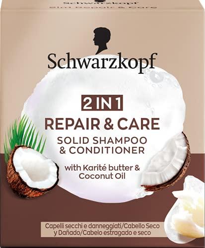 Schwarzkopf - Champú Sólido + Acondicionador Sólido 2 en 1 Repair&Care, 60 g, Para cabello seco o dañado - Suaviza y cuida la estructura del cabello para un aspecto sano