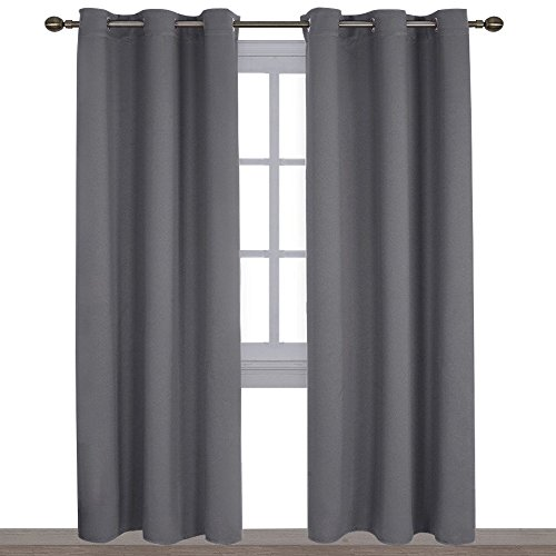 NICETOWN 3 Pass Microfiber Noise Reducing Thermal Insulated Solid Ring Top Blackout Window Curtains/Drapes (2 Panels, 42 x 84 Inch, Gray)