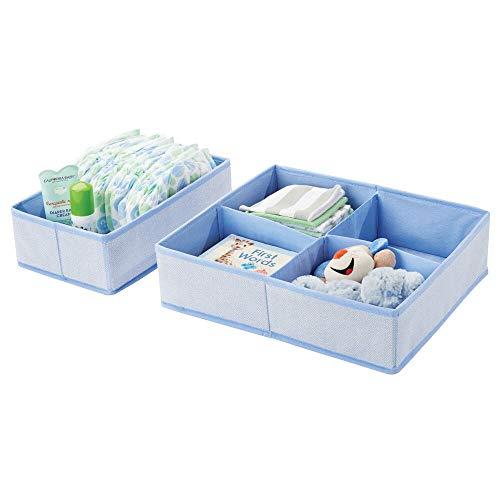 mDesign Set da 2 Organizer per armadio con motivo a lisca di pesce  Contenitori per cameretta, bagno, camera da letto ecc.  Portaoggetti bimbo con 4 scomparti + 1 grande in fibra sintetica  blu