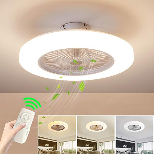 SUZNIU Deckenventilator mit Beleuchtung, Fan Deckenventilator LED Licht, Einstellbare Windgeschwindigkeit, Dimmbar mit Fernbedienung, 36W Moderne led Deckenlampe für Schlafzimmer Wohnzimmer Esszimmer