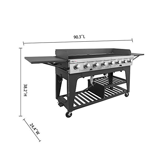 Product Image 9: Royal Gourmet GB8000 8-Burner Liquid Propane Event Gas Grill, BBQ, Picnic, or Camping Outdoor, Black