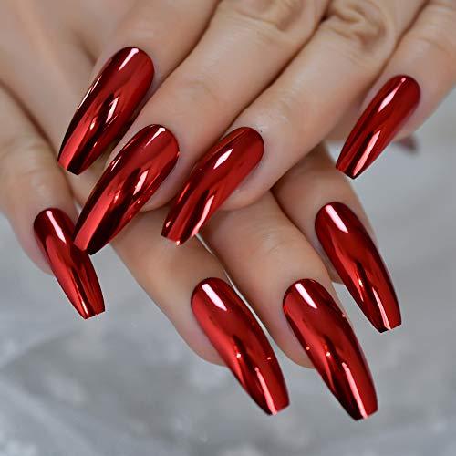 Gorgeous Mirror Fake Nails Sexy Red Metallic Ladies Fingernails Extra Long Ballerina Fashion Nail Art Tips 24