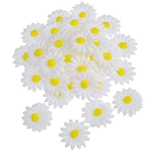 WILLBOND 50 Piezas de Flor de Margaritas de Tela para Decoración Manualidad Capo de Pascua, Flores Falsas Blancas Artificiales de Manualidades, 5 cm de Diámetro
