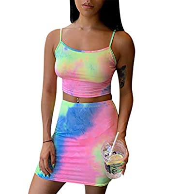 Material: This Dress Is Made Of Good Quality Polyester With Soft Touch Feeling And High Elastic. Feature: Sexy Strap Crop Top, Bodycon Mini Skirt, Fashion Tie Dye Printed, Hip Package Club Party Dress Outfits. Occiasion : Suit for Wedding, Evening Pa...