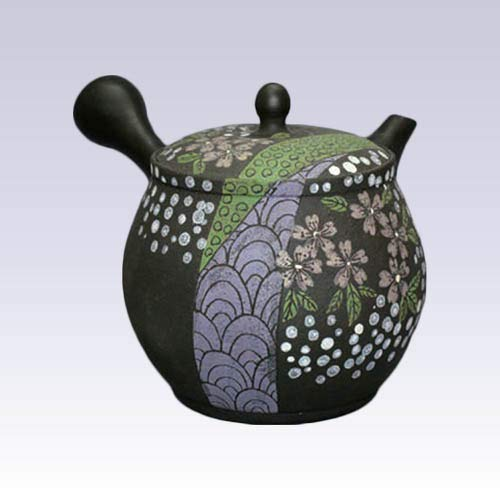 Tokyo Matcha Selection - Tokoname Kyusu teapot - SEKIRYU - Sakura Aperture - 380 cc/ml - Ceramesh net [Standard Ship by Int'l e-Packet: with Tracking Number & Insurance]