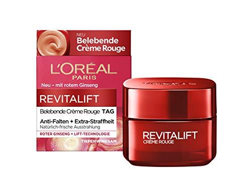 L\'Oréal Paris belebende Feuchtigkeitscreme mit Glow Effekt, für müde Haut und müde Augen, Revitalift Crème Rouge, 50 ml